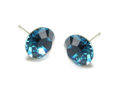 Indicolite Diamond Cut Swarovski Element Stud Earrings, 8mm