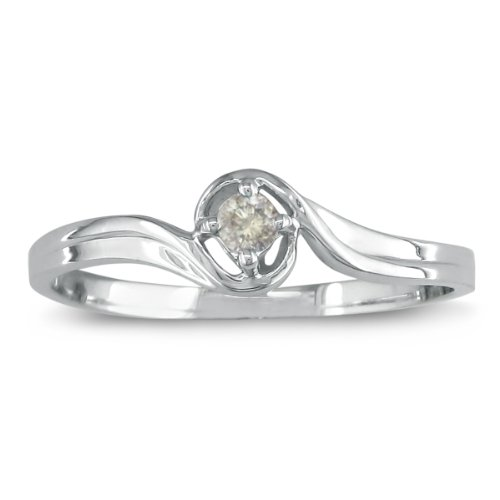10K White Gold Diamond Promise Ring with .05ct