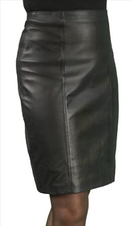 Straight Leather Skirt Knee Length - Ladies/Women (Black Waist 26u0026quot;/66cm) Amazon.co.uk Clothing