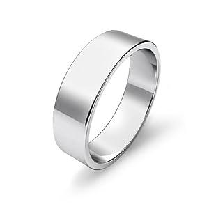 10.1g Men's Flat Wedding Band 6mm Platinum Ring (10.5)