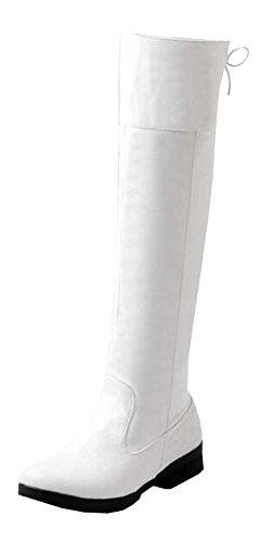 Frühling Herbst Hohe Stiefel Damenstiefel (EU35.5=China35=22.5cm, weiß)