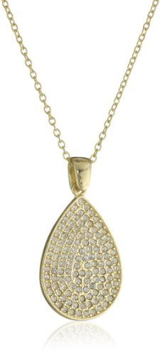 Flying Lizard Designs Gold Chain Necklace with Cubic Zirconia Tear Drop Pendant Necklace