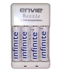 Combo of Envie 4 nos AA 2100 MAH Infinite RTU Rechargeable batteries+ECR-20 charger