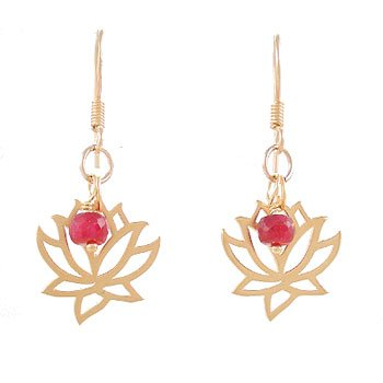 Open Design Lotus Flower and Ruby Bead Dangle Earrings in Gold Vermeil, #8087