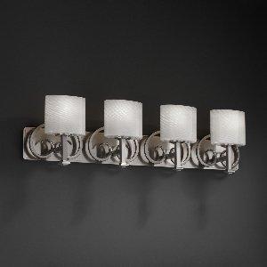 Justice Design FSN-8584-30-RBON-ABRS Heritage Four Light Bath Bar, Glass Options: RBON: Ribbon Glass Shade, Choose Finish: Antique Brass Finish, Choose Lamping Option: Standard Lamping