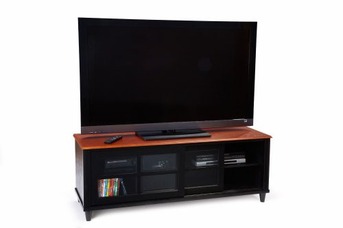 Convenience Concepts 6042180 French Country 60-Inch TV Entertainment Center with Shelf and Sliding Doors for Flat Panel TV's up to 60-Inch or 100-Pounds, 2-Tone photo