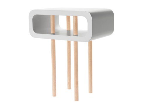 Leitmotiv - Tavolino medio di appoggio, in legno, aperto, colore: Grigio chiaro