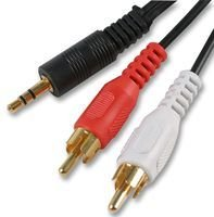 Cable-Tex 3.5mm Jack to 2 x RCA Phono Stereo Audio Cable 3m Lead