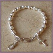 CHR-01E Freshwater Pearl/Silver/Cross Sterling Silver Infant Baby Christening Bracelet 0-12 months