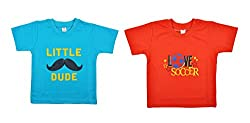 kandyfloss Boys' T-Shirts- Pack of 2 (MRHKF-BOYS'-TS-COMBO-2-1, Red and Blue, 5-6 Years)