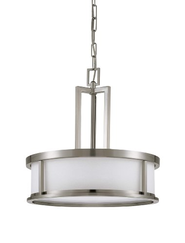Nuvo Lighting 60/3807 Odeon 4-Light Pendant with Satin White Glass, Brushed Nickel