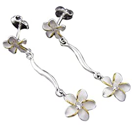 925 Silver Two Tone Two Plumeria Dangling Earrings Hawaiian Silver Jewelry