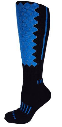 MOXY Socks Black with Cyan Blue Premium Deadlift HELIX Fitness Knee-High Socks