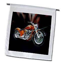 3dRose fl_62396_1 Orange Harley Davidson Motorcycle Garden Flag, 12 by 18-Inch