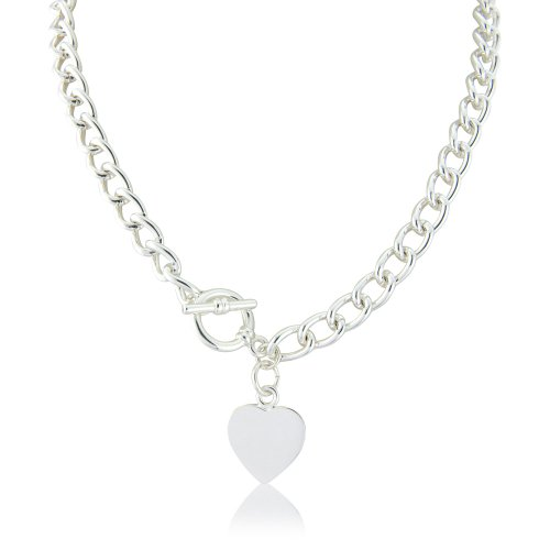Jewellery Gift - A Heart Tiffany Style Necklace, Heart Pendant on charm necklace with T Bar finish