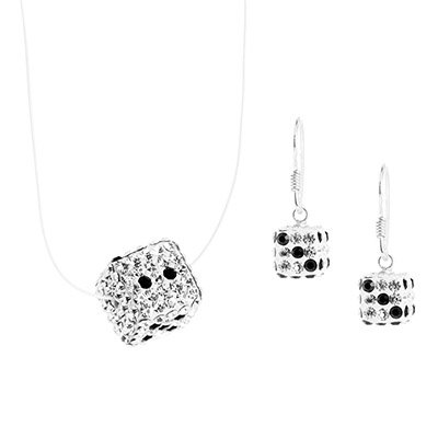 Elanza White Silver Jewellery Set With Austrian crystal Stone