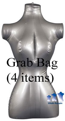 Grab Bag of 4 Inflatable Mannequins, Female Torso, Standard Size, Silver