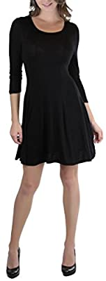 ToBeInStyle Classsic Fit Skater Dress With 3/4 Sleeves