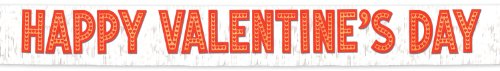 Metallic Happy Valentine's Day Banner (white w/gold gltrd red ltrs) Party Accessory  (1 count) (1/Pkg)