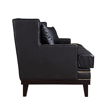 DIVANO ROMA FURNITURE Modern Bonded Leather Sofa with Nailhead Trim Detail (Black)