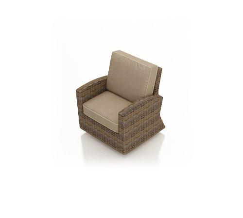 Forever Patio Cypress Modern Outdoor Wicker Swivel Glider Club Chair With Beige Sunbrella Cushions