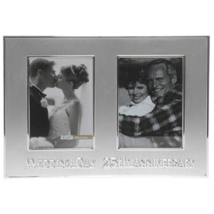 25th Wedding Anniversary Then & Now Photo Frame