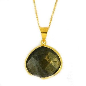 Yellow Gold over Sterling Silver & Labradorite Necklace Pendant with Adjustable Chain (16