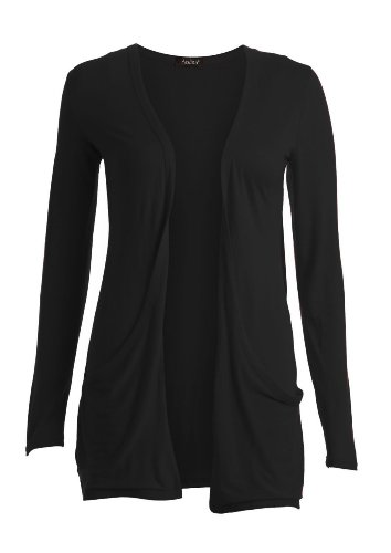 Crazy Girls Womens Boyfriend Pocket Cardigan Jersey Shrug (S/M-US6/8, Black)