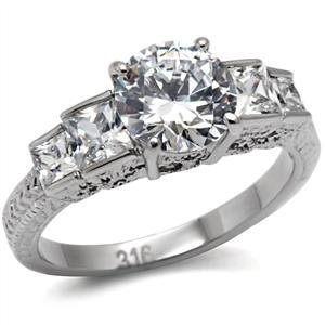 2 Carat CZ Stainless Steel Weddnig Engagement Ring Size (9)