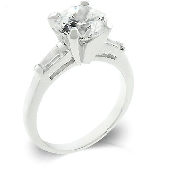 White Gold Rhodium Bonded Engagement Ring with a Triplet Featuring Shouldered Emerald Cut and Centered Round Cut Ensemble in Silvertone