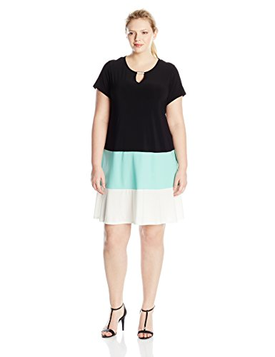 Tiana B Women's Plus-Size Short Sleeve Color Block Dress with Keyhole Neckline Trim, Black/Mint, 20W