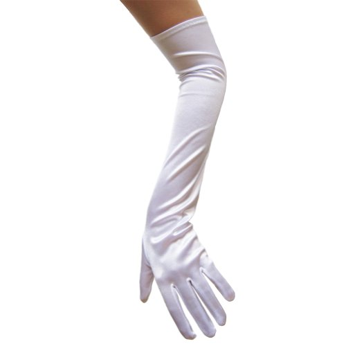 White Satin Gloves (Opera Length) ~ Formal, Wedding, Theatrical, Costume Party
