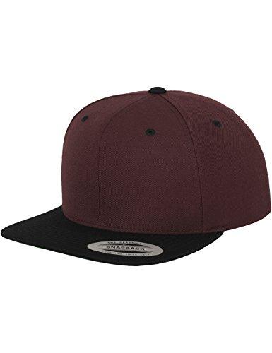 Flex fit -  Cappellino da baseball  - Uomo, Uomo, Classic 2-tone Snapback Cap, - maroon/blk, Taglia unica