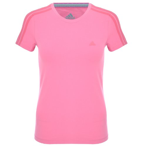 Adidas Climalite Womens Running Exercise Gym Short Sleeve Shirt Top - Pink