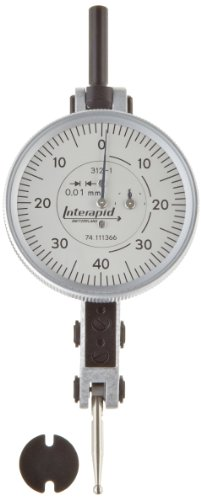 Brown & Sharpe Tesa 74.111366 Interapid 312 Dial Test Indicator, Horizontal Type, M1.7X4 Thread, 2Mm Stem Dia., White Dial, 0-40-0 Reading, 37.5Mm Dial Dia., 0-1.6Mm Range, 0.01Mm Graduation, +/-0.01Mm Accuracy front-200144