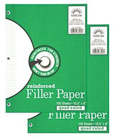 2 Packages of Norcom Reinforced Filler Paper - 8 x 10.5 - Quad-Ruled - White - Pack Of 100 (Package Filler Paper compare prices)