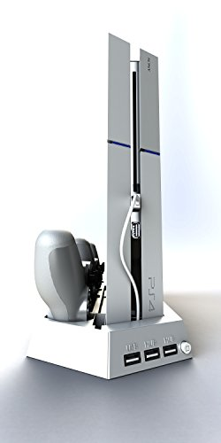 SpinzTM Playstation 4 Vertical Cooling Stand with 2 Fans - Include Dual Charger Ports - Charging Station for Dual Shock Controllers - 3 USB Ports - WHITE for PS4 (Wii Cooling Stand compare prices)