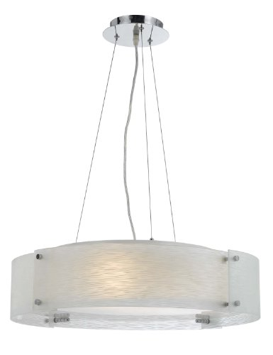 Cal Lighting FX-2327/1P Elliptical Glass Pendant Fixture, 60-watt x 3, Shimmery Glass/Chrome