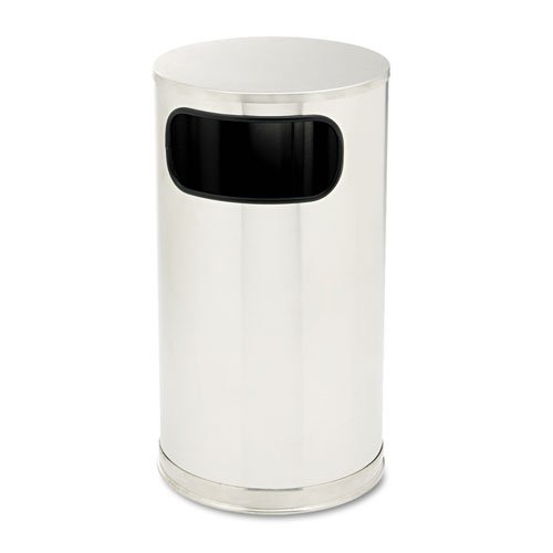 Rubbermaid Commercial European Metallic Side-Opening Receptacle, Round, 12 Gal, Stainless Steel - Includes One Each.
