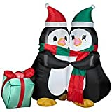 Gemmy 3.4 Ft Hugging Penguins Airblown Inflatable with LED Lighting