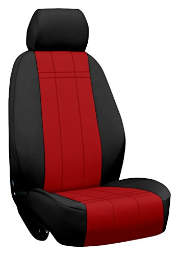 Custom Fit Ford F350 Seat Covers (2011-2015) Rear Seat Set - Neo-Supreme In Black W/ Red - 40/60 Bottom W/ Solid Back And Headrests (Hr Covers Not Available) (Supercab)