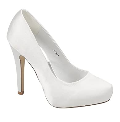 white peep stiletto heel platform lace wedding evening