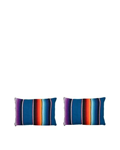 Uptown Down Set of 2 Found Mexican Blanket Lumbar Pillows, Blue/Multi