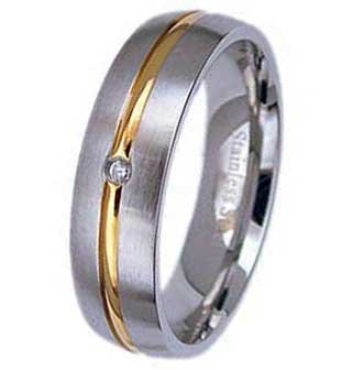 6MMPolished Stainless Steel With Thin Gold Plated Groove in Center and Cubic Zirconia