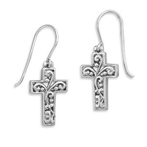 Cross Earrings Antiqued Filigree Design Sterling Silver