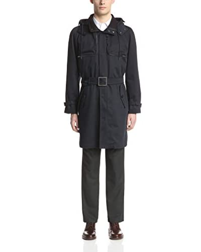 Allegri Men's Twill Trench Coat with Removable Hood