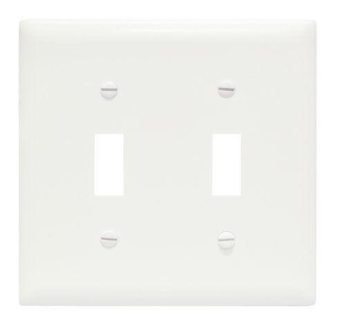 Pass & Seymour TP2W TradeMaster Two-Gang Two-Toggle Wall Plate, White