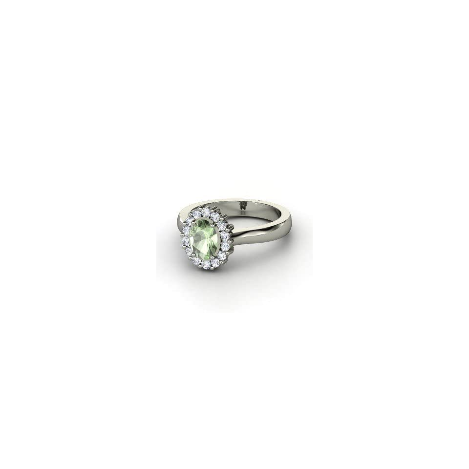 Princess Kate Ring, Oval Green Amethyst 14K White Gold Ring with