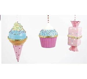 Ice Cream, Cupcake & Candy Hinged Trinket Box / Ornament, Set of 3, Pink