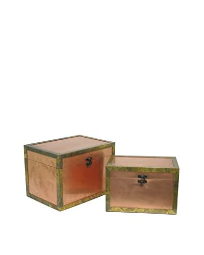 Three Hands Wood Box Set Of 2, Copper